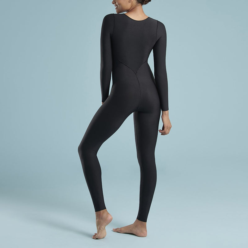 Marena Shape style VA-01 VerAmor Long-sleeve tall inseam compression bodysuit, front pose view, in black