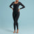 Marena Shape style VA-01 VerAmor Long-sleeve compression regular inseam bodysuit front pose view, in black