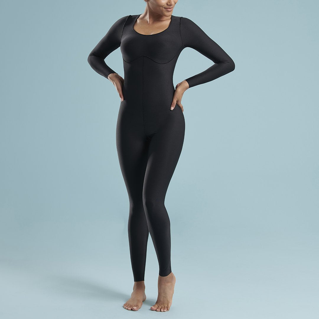 Marena Shape VA-01 VerAmor Long-sleeve compression bodysuit front pose view, in black