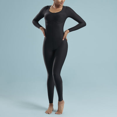 Marena Shape style VA-01 VerAmor Long-sleeve petite inseam compression bodysuit, front pose view in black