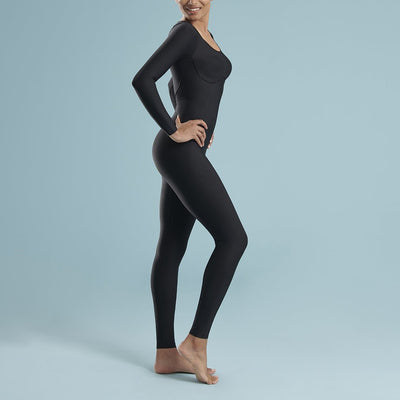 Marena Shape style VA-01 VerAmor Long-sleeve tall inseam compression bodysuit, side pose view, in black