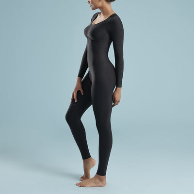 Marena Shape style VA-01 VerAmor Long-sleeve petite inseam compression bodysuit, side view in black
