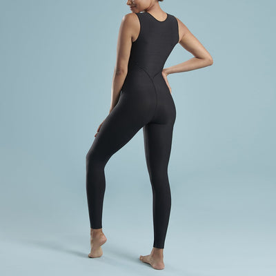 Marena Shape style VA-02 VerAmor Sleeveless tall inseam compression bodysuit, back pose view in black
