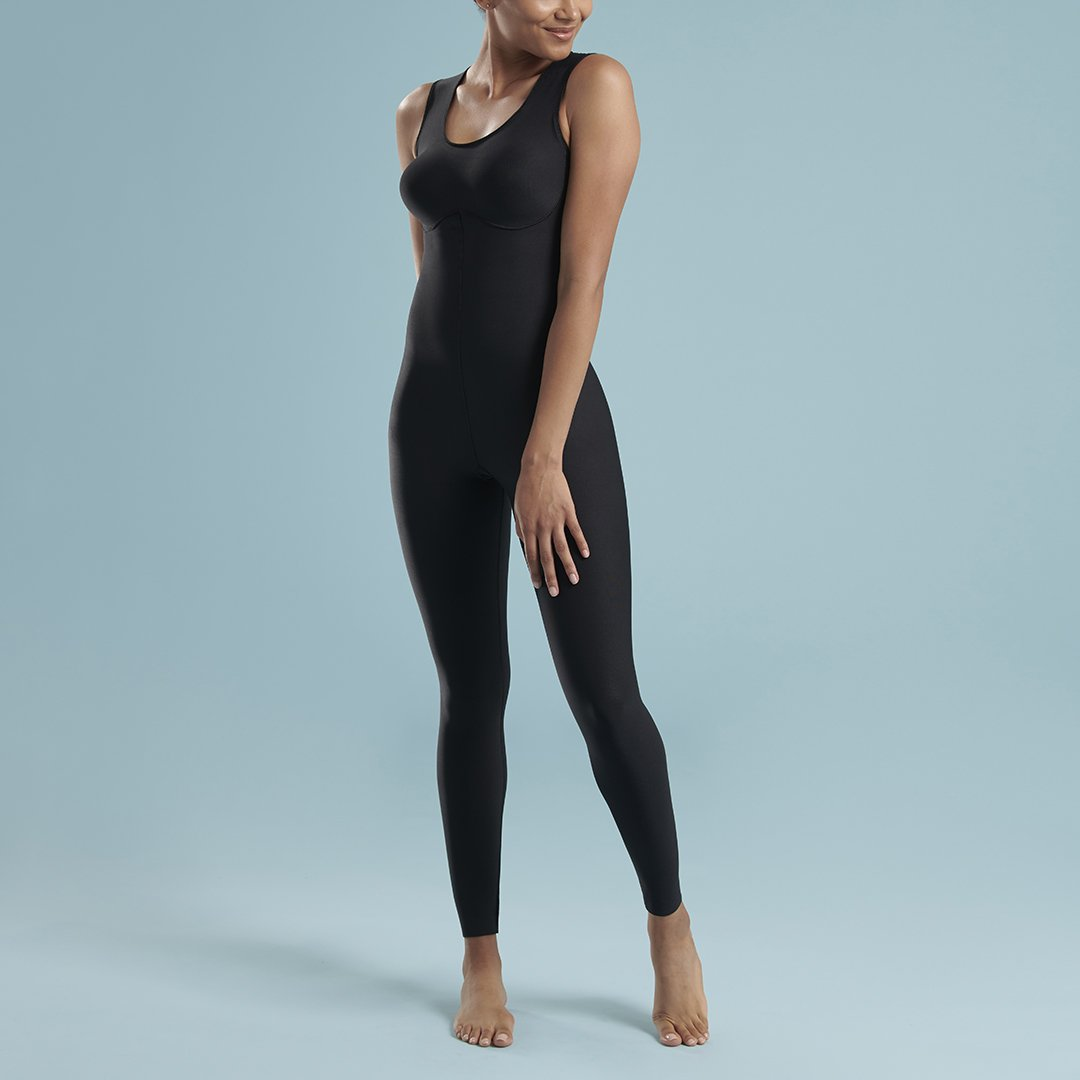 Marena Shape style VA-02 VerAmor Sleeveless petite inseam compression bodysuit, front pose view in black