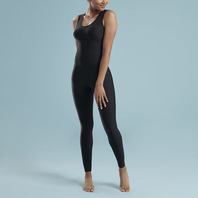 Marena Shape style VA-02 regular inseam compression bodysuit, front view in black