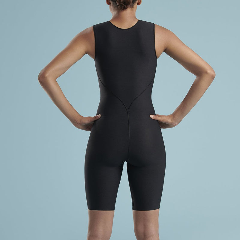 Marena Shape VA-03 VerAmor Thigh length compression bodysuit front pose view, in black