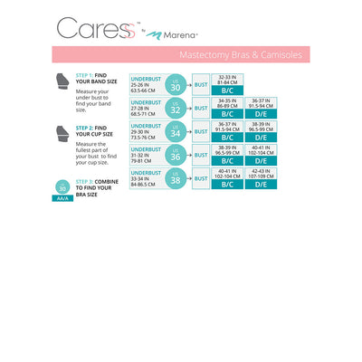 Caress by Marena Size Chart, Mastectomy Bra, B11