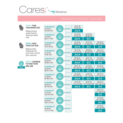 Caress by Marena Size Chart, Mastectomy Bra, B16