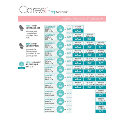 Caress by Marena Size Chart, Mastectomy Bra, B16P