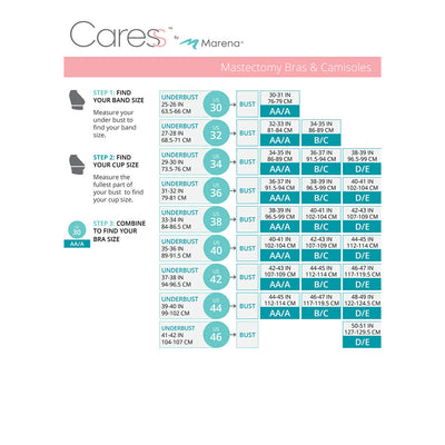 Caress by Marena Size Chart, Mastectomy Bra, BNRZ