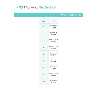 Marena Women's Recovery size chart