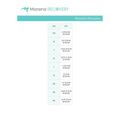 Marena Women's Recovery size chart, arm point of measure