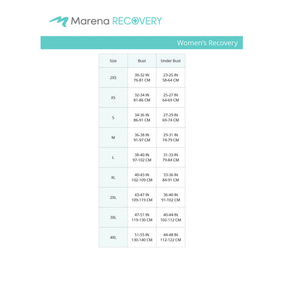 Marena Recovery size chart for women