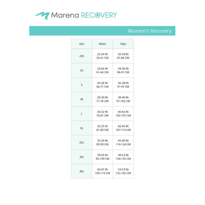 Marena Recovery Waist Hips Size Chart