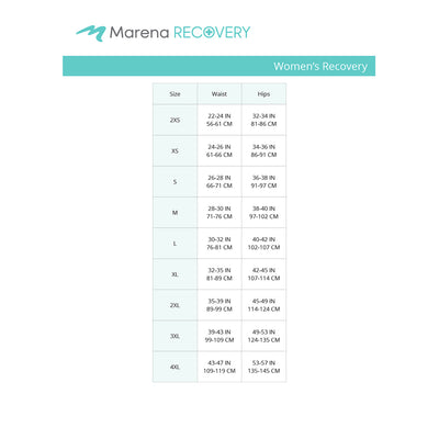 Marena Women's Recovery size chart, waist, hips points of measure