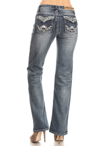 Winged Skull Boot Cut Jean