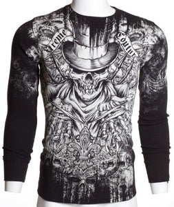 Black Top Hat Skull Affliction Mens Thermal