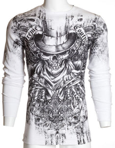 White Top Hat Skull Affliction Mens Thermal