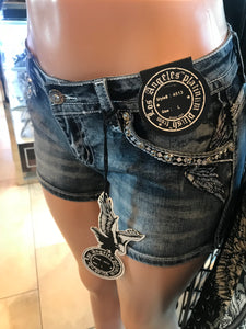 Skull Bling Denim Shorts