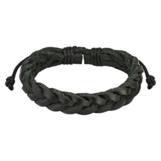 Black Braided Tie Leather Bracelet
