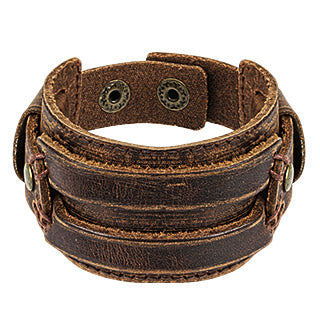 Rugged Brown Leather Bracelet
