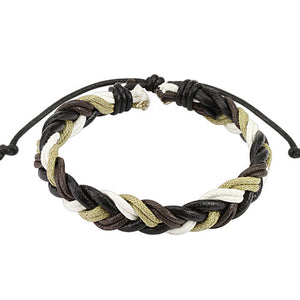 Braided Multi tone Tie Leather Bracelet