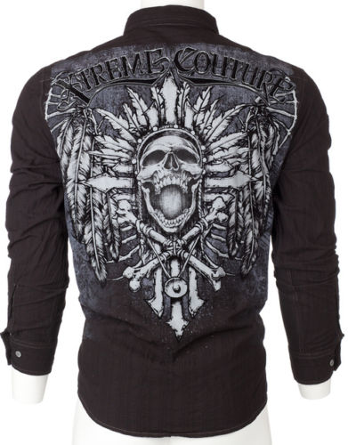 Native Skull Affliction Mens Button Down