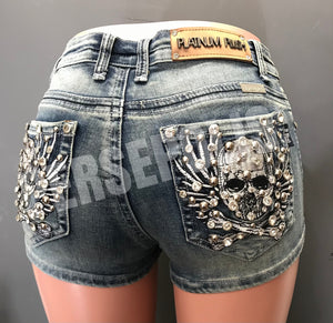Soaring Skull Denim Shorts