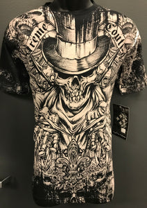 Midnight Top Hat Skull Affliction Tee