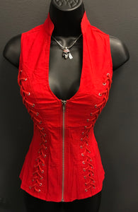 Some Like it Red Hot Zippered Vest