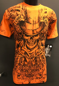 Orange Top Hat Skull Affliction Tee