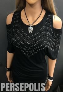 Bombshell Bling Cold Shoulder Tee