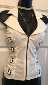 Buckle Up! Creme Zippered Vest