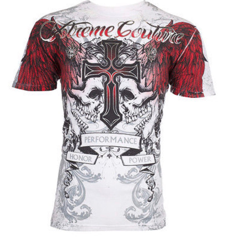 Red Fire Skull Affliction Tee