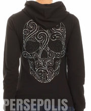 Sugar Skull Bling Zippered Hoodie