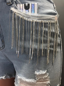 Bling & Chains Cut Off Shorts