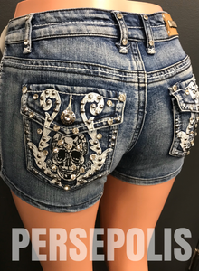 Bombshell Skull Denim Shorts