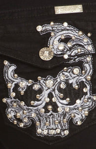 Black Sugar Skull Bling Boot Cut Jean