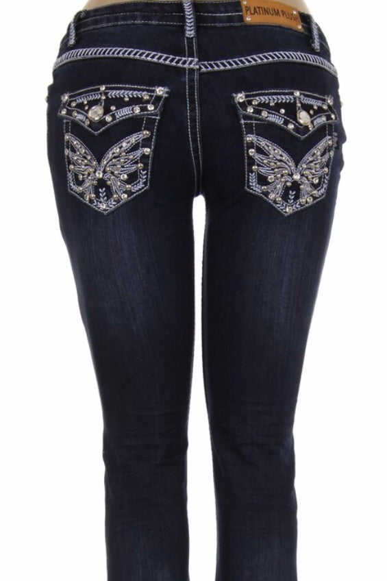 Butterfly Bling Boot Cut Jean- SALE