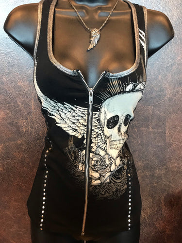 Skull Wing Zipper Vest