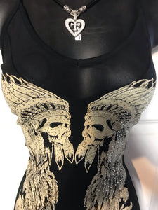 Mesh with me Native Skull strapy tank-SALE