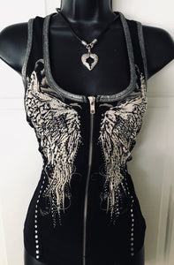 Bling Angel Zipper Vest