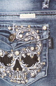 Sugar Skull Bling Boot Cut Jean