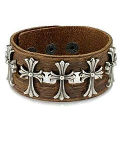 Celtic Cross Adjustable Leather Bracelet