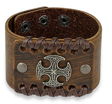 Center Celtic Cross Adjustable Leather Bracelet