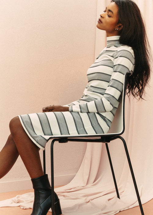 Mina Dress - Striped white