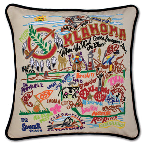 Oklahoma Hand-Embroidered Pillow by Catstudio