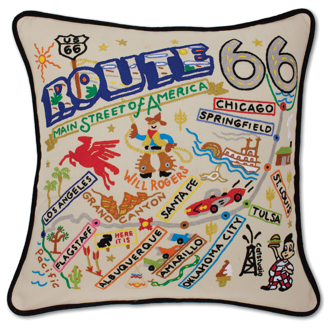 Route 66  Hand-Embroidered Pillow by Catstudio