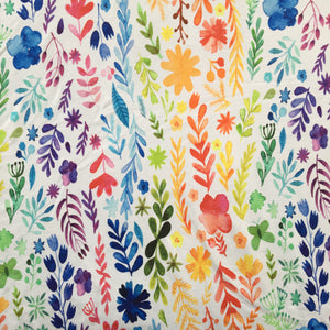 Watercolour Flowers Cotton Jersey - Contour Shape