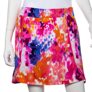 Rain Splatter Print Piping Trim Skort